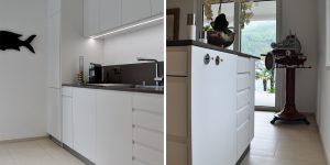 cucina su misura bianca e nera moderna