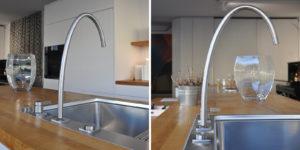 Cucina moderna con inserti in legno di recupero